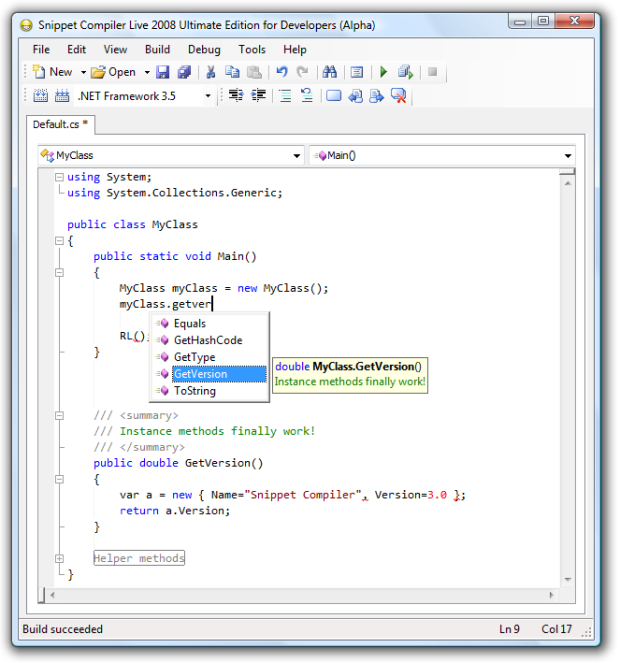Snippet Compiler Live 2008 Ultimate Edition for Developers (Alpha)