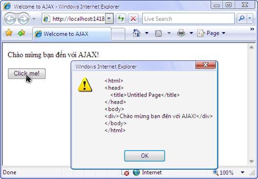 Ajax – Ví dụ minh họa sử dụngXMLHttpRequest
