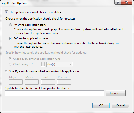 Visual Studio-Application Updates
