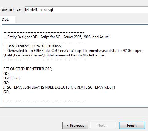 EF - Generate Database Wizard - DDL