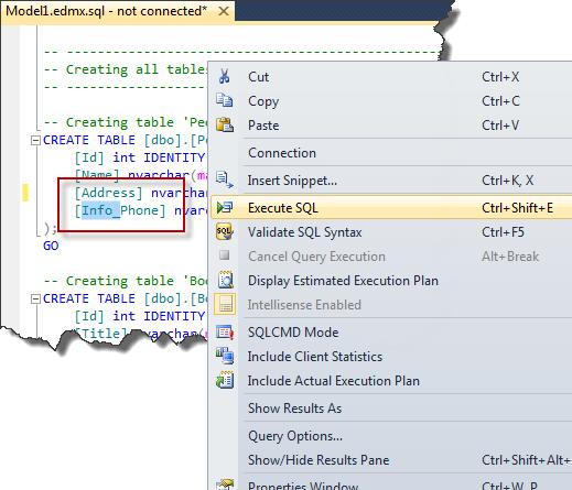 Entity Framework - Content of DDL File