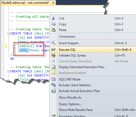 Entity Framework - Content of DDL File