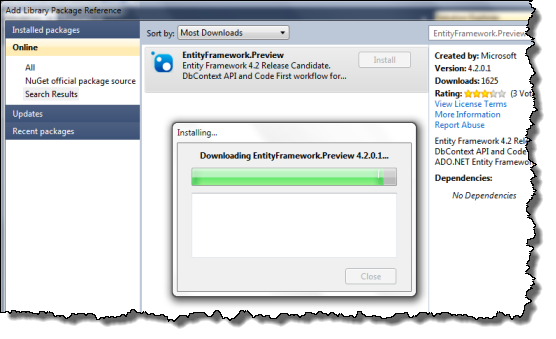Install EntityFramework.Preview Package