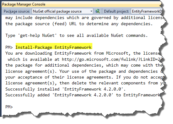 Package Manager Console - Installing Entity Framework 4.2