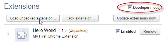 Chrome Load unpacked Extension