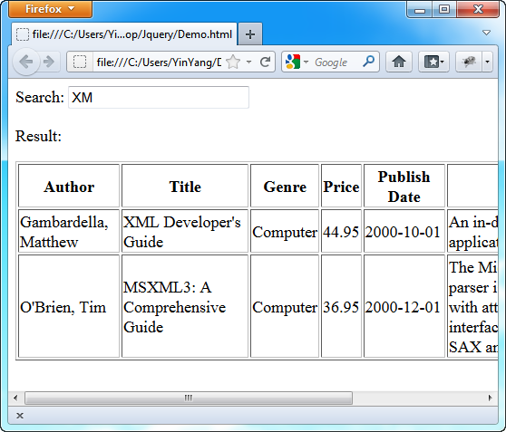 jQuery - Filter data in html table