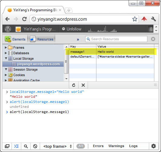 Chrome Developer Tools Console