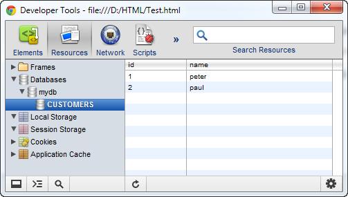 Chrome Developer Tools - Web SQL Database