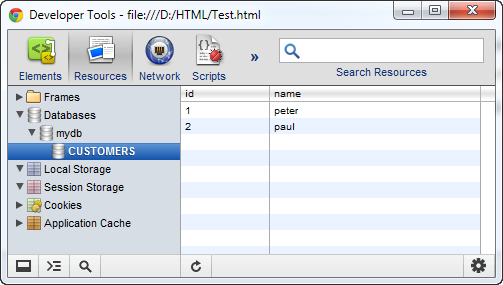 Chrome Developer Tools - Web SQL Database