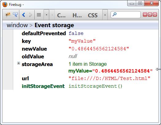 Web Storage Event