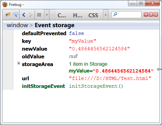 Web Storage Event