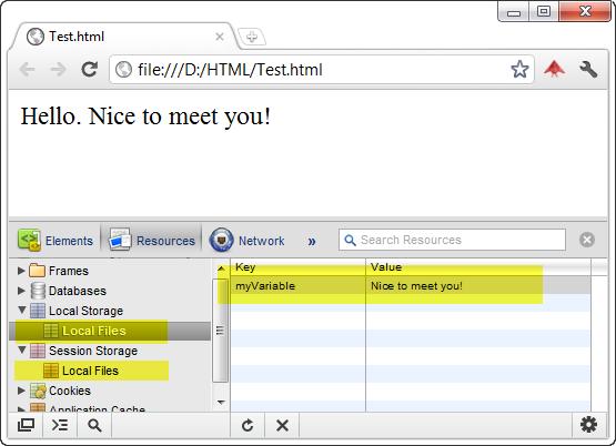 Web Storage Example