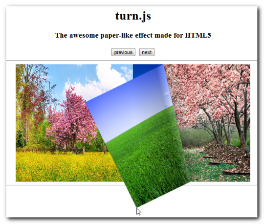 jQuery Plugin - Turnjs - paper-like effect -Example