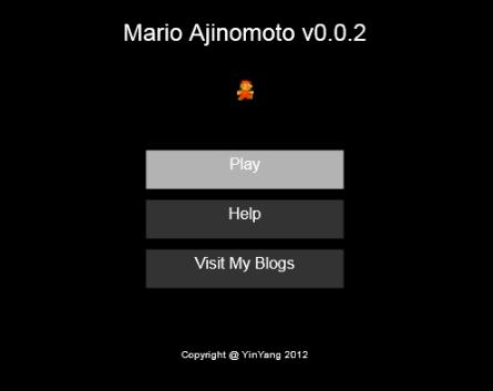 Html5-Mario Game - Welcome Screen