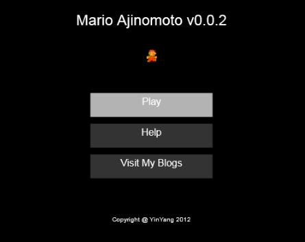 Html5-Mario Game - Welcome Screen