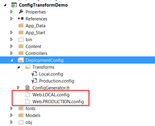 ASP.NET - Integrated Transform and T4 Text Template XDT to create .config files
